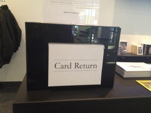 "Card Return box for ""HUMAN RIGHTS HUMAN WRONGS"" at the Ryerson Image Centre"