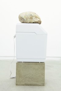 "Jason de Haan, ""Free and Easy Wanderer (Yellow River, White River),"" 2014, found fossil, humidifier and concrete, Courtesy Clint Roenisch"
